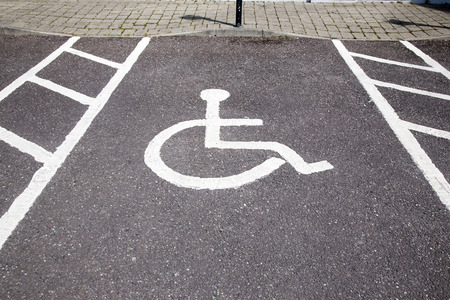 disabled parking sign: Disabled Parking Sign on Diagonal Slant