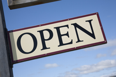 slant: Open Sign on Diagonal Slant
