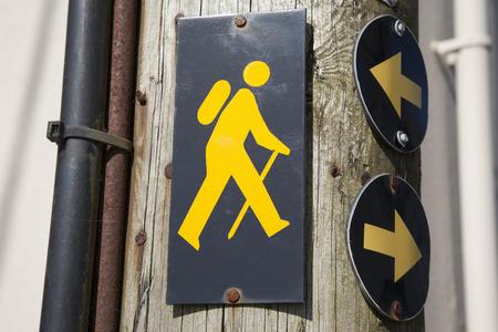 wooden post: Trekking Sign on Wooden Post