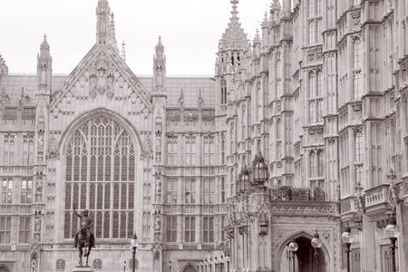 houses of parliament: Houses of Parliament, London, England, UK in Black and White Sepia Tone