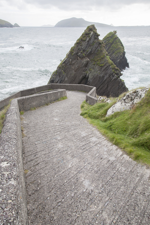 dunquin: Road Down to Dunquin Harbor with Blasket Island, Dingle Peninsula, Ireland