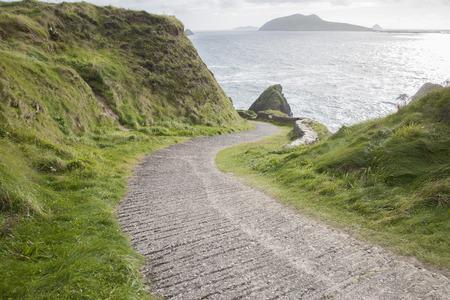 dingle: Road Down to Dunquin Harbor with Blasket Island, Dingle Peninsula, Ireland
