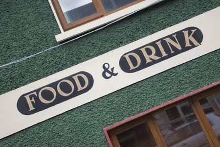slant: Food and Drink Sign on Diagonal Slant