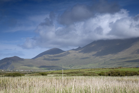cloudscape: Mountains and Cloudscape in Dingle Peninsula, Ireland Stock Photo
