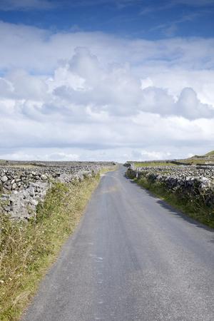 aran islands: Open Road near Kilronan on Inishmore, Aran Islands, Ireland Stock Photo