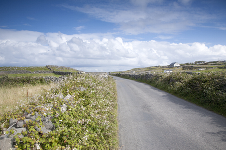 aran: Open Road near Kilronan on Inishmore, Aran Islands, Ireland Stock Photo