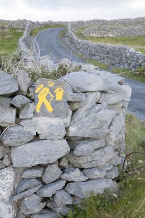 aran islands: Walking Sign, Inishmore; Aran Islands; Ireland