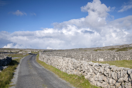 aran: Open Road on Inishmore, Aran Islands, Ireland Stock Photo