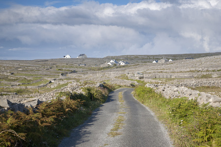 aran islands: Open Road on Inishmore, Aran Islands, Ireland Stock Photo