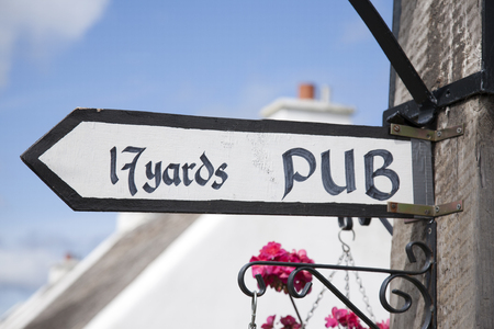Pub Sign in Ireland in Summertime Stock Photo