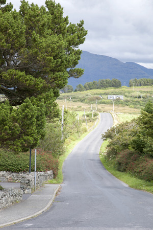 connemara: Country Road, Tully Cross, Connemara National Park; County Galway; Ireland Stock Photo