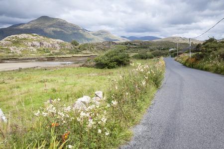 connemara: Open Road at Lettergesh Beach, Connemara National Park, County Galway, Ireland