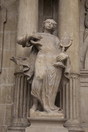 navarra: Sculpture on Facade of Pamplona City Hall, Navarra, Spain