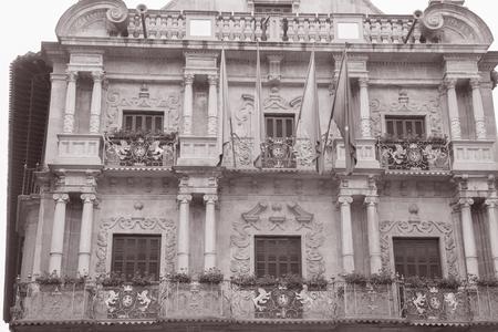 navarra: Pamplona City Hall, Navarra, Spain in Black and White Sepia Tone