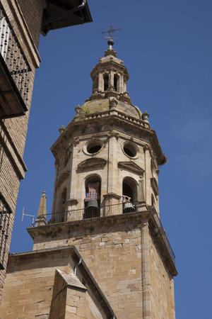 parish: Parish Church of Santiago and San Pedro, Puente de la Reina, Navarra, Spain Stock Photo