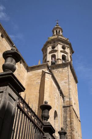 san pedro: Parish Church of Santiago and San Pedro, Puente de la Reina, Navarra, Spain Stock Photo