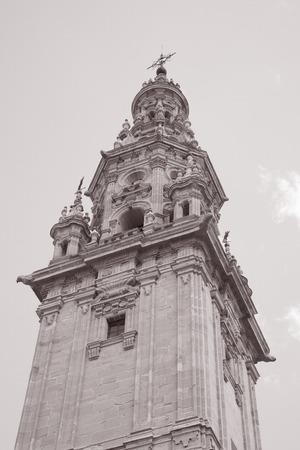 domingo: Bell Tower - Cathedral, Santo Domingo de la Calzada, Burgos, Spain in Black and White Sepia Tone