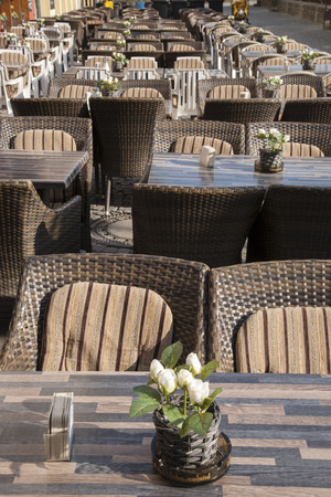 restuarant: Beer House, Cafe, Bar and Restuarant Tanle and Chairs, Germany, Europe Stock Photo