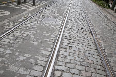 slant: Tram Track in Brussels; Belgium, Europe Stock Photo