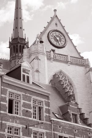 peter's: St Peters Church; Leuven; Belgium in Black and White Sepia Tone