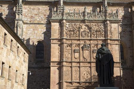 luis: University Facade with Fray Luis Monument, Salamanca; Spain, Europe
