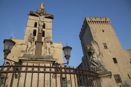 des: Avignon Cathedral and Palais des Papes Palace, France