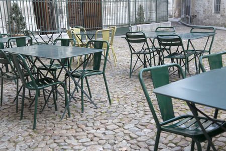 avignon: Cafe Tables and Chairs in St Pierre Square, Avignon, France