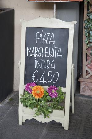 lucca: Pizza Menu, Piazza San Michele Square; Lucca; Italy Stock Photo