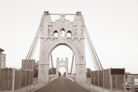 tone: Penjat Bridge, Amposta, Spain in Black and White Sepia Tone Stock Photo