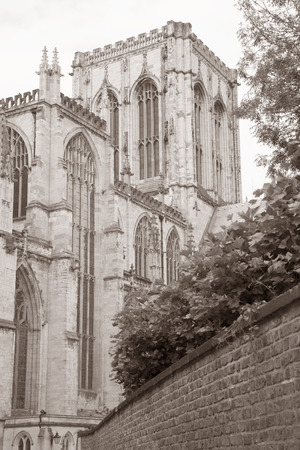 York Minster Cathedral Church, England; UK in Black and White Sepia Tone