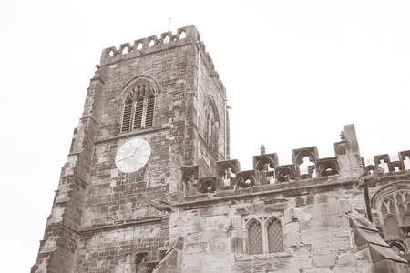 marys: St Marys Church, Thirsk, Yorkshire, England, UK in Black and White Sepia Tone Stock Photo