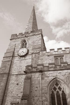 parish: Parish Church, Pickering, Yorkshire, England, UK in Black and White Sepia Tone