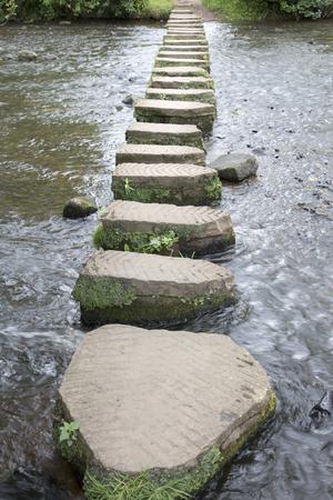stepping: Stepping Stones, Lealholm, North York Moors, Yorkshire, England, UK Stock Photo