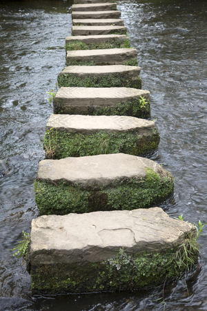 stepping: Stepping Stones, Lealholm, North York Moors, Yorkshire, England, UK Stock Photo