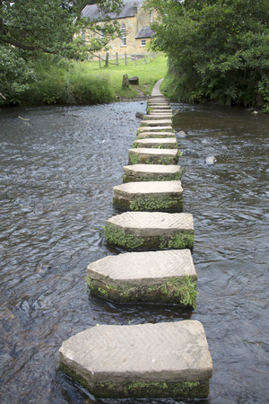 stepping: Stepping Stones and Church, Lealholm, North York Moors, Yorkshire, England, UK