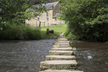 moors: Stepping Stones and Church, Lealholm, North York Moors, Yorkshire, England, UK