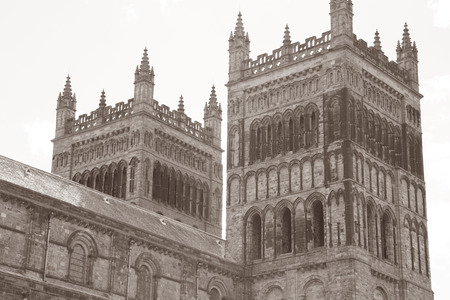 durham: Cathedral Durham; England, UK in Black and White Sepia Tone