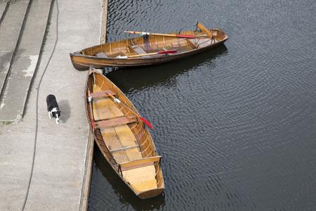 Punts and Rowing Boat from Elvet Bridge, Durham; England, UK Stock Photo