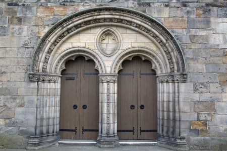 parish: Door and Entrance of Holy Trinity Parish Church; St Andrews; Scotland