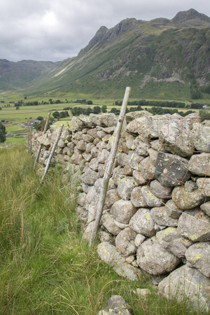 lake district england: Stone Wall in Great Langdale Valley, Lake District, England, UK Stock Photo