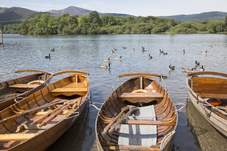 Rowing Boats on Derwent Water, Keswick, Lake District, England, UK Stock Photo