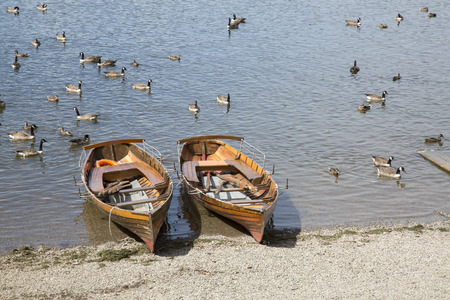 lake district england: Rowing Boats on Derwent Water, Keswick, Lake District, England, UK Stock Photo