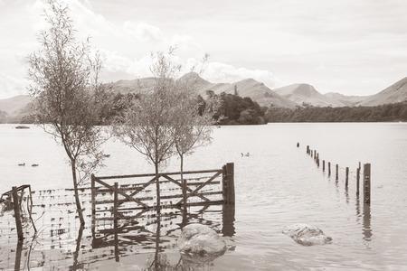 lake district england: Derwent Water, Keswick, Lake District, England, UK in Black and White Sepia Tone