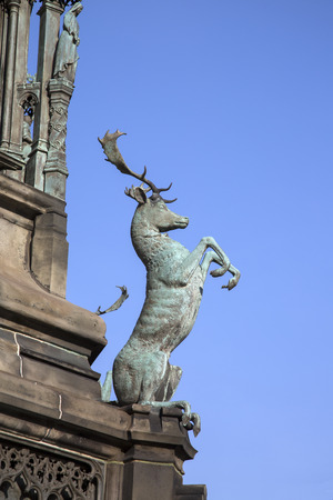 scottish parliament: Detail on Walter Scott Statue by Bohem (1888); Royal Mile; Lawnmarket; Edinburgh; Scotland