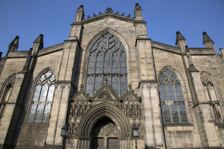 giles: Facade of St Giles Cathedral Church; Royal Mile; Lawnmarket; Edinburgh; Scotland