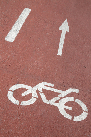 Bike Lane Symbol On Road Surface Stock Photo Picture And Royalty