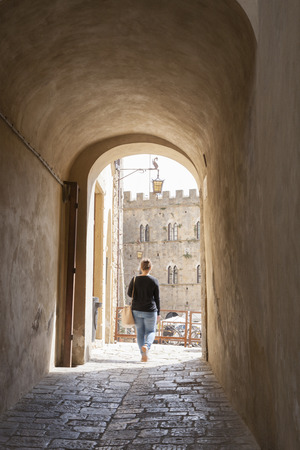 tuscana: City Walls and Arch; Volterra; Tuscany; Italy