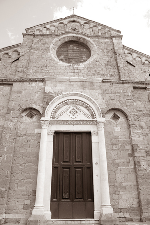 tuscana: Cathedral Church, Volterra; Tuscany; Italy in Black and White Sepia Tone Stock Photo