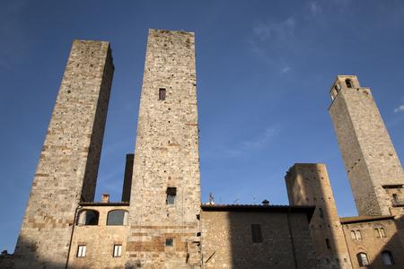 torri: Torri Salvucci Towers; San Gimignano; Tuscany; Italy Stock Photo