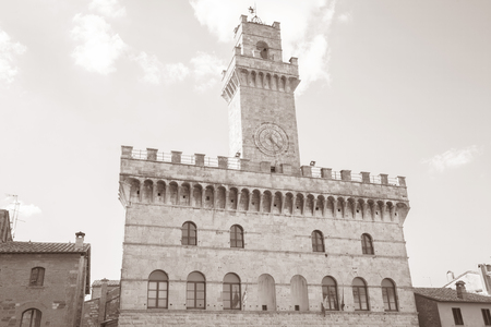 montepulciano: Town Hall, Montepulciano Village; Tuscany; Italy in Black and White Sepia Tone